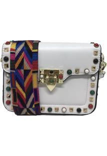 Bolsa Casual Transversal Alça Colorida Sys Fashion 831617 Branco