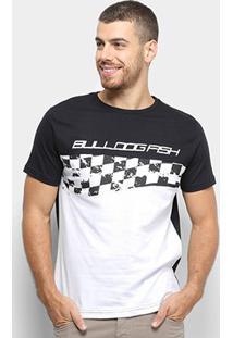 Camiseta Bulldog Fish Silk Racing Masculino - Masculino-Preto+Branco