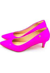 aa69a7c7d4 ... Scarpin Salto Baixo Love Shoes Bico Fino Verniz Neon Rosa