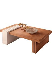Mesa De Centro Retangular Luna I Marrom Nature E Off White