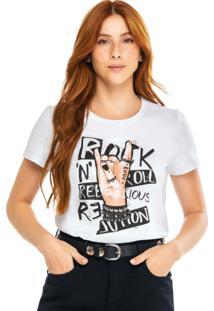Blusa Branca Rock 'N' Roll Em Malha