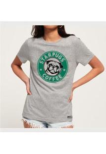 Camiseta Star Pugs Buddies Feminina - Feminino-Mescla