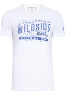 Camiseta Masculina Manga Curta Estampa Wildside - Branco