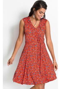 Vestido Decote Com Babados Floral Laranja