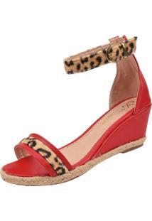 Sandália Rosa Chic Calçados Anabela Vermelha