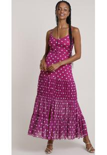 Vestido Feminino Mindset Longo Estampado De Poá Em Tule Alça Fina Roxo