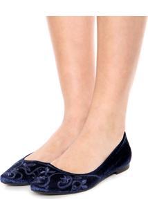 Sapatilha Dafiti Shoes Veludo Floral Azul