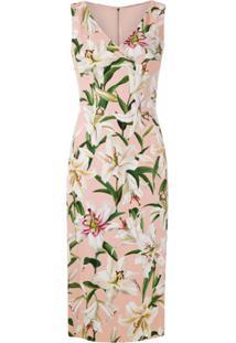 Dolce & Gabbana Vestido Tubinho Estampado - Rosa