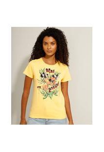 """Camiseta De Algodão Açaí Com Guaraná"""" Manga Curta Decote Redondo Amarelo"""""""