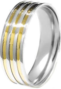 Aliança Prata Mil Reta De Prata C/ Filete De Ouro (Unidade) Prata