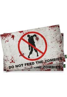 Jogo Americano Do Not Feed The Zombies - 2 Peças Geek10 Vermelho
