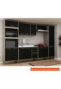 Cozinha Compacta Vitória 13 Pt 3 Gv Preta E Creme