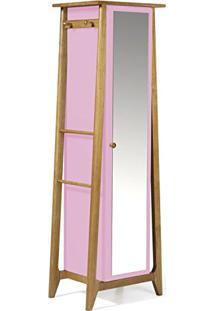 Armário Multiuso 1 Porta Stoka Maxima Nogal/Rosa Cristal