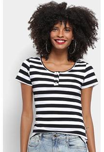 Camiseta Top Modas Listrada Botões Feminina - Feminino-Branco+Preto