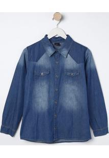 Camisa Jeans Com Bolsos- Azul- Bilitonbiliton