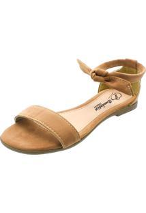 Sandália Rasteira Romântica Calçados Caramelo - Tricae