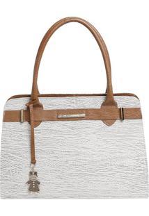 Bolsa De Mão Em Couro Com Bag Charm - Cinza Claro & Marrdi Marlys