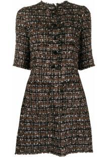 Dolce & Gabbana Vestido De Tweed Com Fechamento Frontal - Marrom
