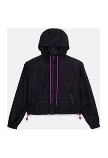 Jaqueta Cropped Quebra-Vento Com Estampa Em Traços Coloridos E Capuz