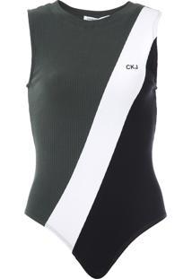 Body Calvin Klein Jeans Canelado Color Block Verde/Preto - Kanui