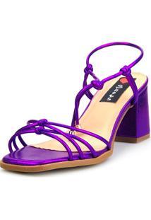 Sandália Salto Bloco Love Shoes Tiras Delicadas Amarração Metalizado Roxo