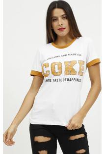 "Camiseta ""Dreams Are Made Of Coke""- Branca & Amarelo Esccoca-Cola"
