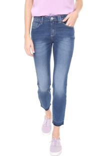 Calça Jeans Hering Slim Cropped Estonada Azul
