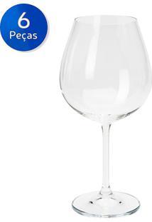 Conjunto 6 Taças Para Água De Vidro 320 Ml Leaves - Bon Gourmet - Transparente