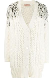Twin-Set Sequin Knitted Cardigan - Neutro