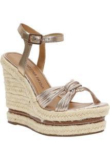 Sandália Plataforma Com Tiras- Dourada & Bege- Saltomorena Rosa