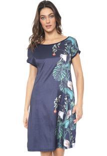 Vestido Mercatto Curto Floral Azul-Marinho