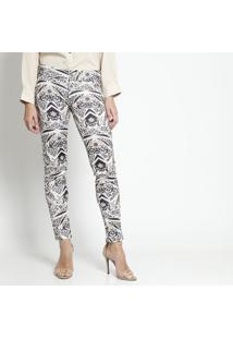 Calça Skinny Animal- Off White & Pretacarmen Steffens
