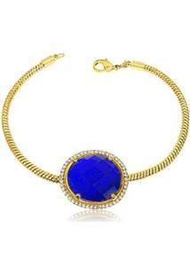 Pulseira Luxo Pedra Safira Semijoia Lys Lazuli Feminina - Feminino