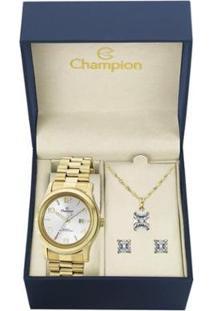 Kit Relógio Champion Feminino - Ch24428E - Feminino-Dourado