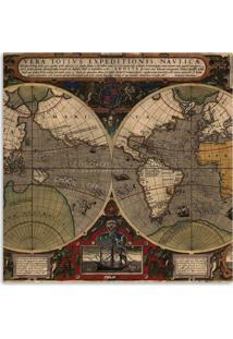 Quadro Mapa Mundi Uniart Marrom 30X30Cm