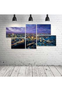 Quadro Decorativo - Light-The-Night-City - Composto De 5 Quadros - Multicolorido - Dafiti