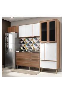 Cozinha Compacta Multimóveis Com 4 Peças Calábria 5453 Nogueira/Branco