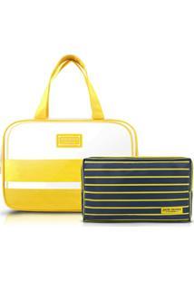 Kit Necessaire 2 Em 1 Jacki Design Pvc + Microfibra - Feminino-Amarelo