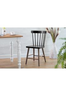 Cadeira De Jantar Folk Verniz Capuccino E Preto 45X46X83Cm