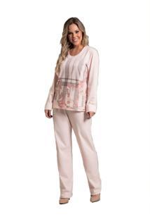 Pijama Recco Longo Malha Flanelada Rosa