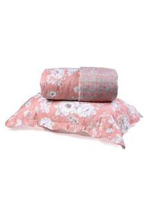 Kit Cobre Leito Queen Dupla Face + Porta Travesseiros Bouti Rolinho Floriza Cristal - Bene Casa