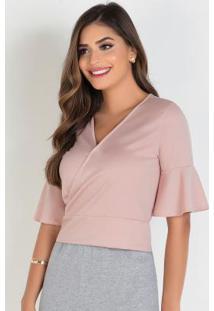 Blusa Transpassada Rosa Claro Moda Evangélica