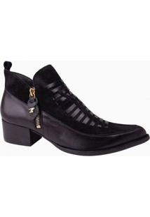 Ankle Boot Couro Dina Mirtz Feminino - Feminino-Preto
