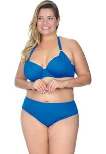 Top Plus Size Meia Taça Com Fivela Agridoce Feminino - Feminino-Azul