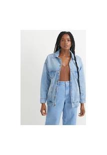 Jaqueta Reversível Jeans Com Bolsos E Lado Reverso Com Estampa Floral | Blue Steel | Azul | P