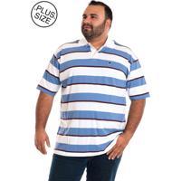 Camisa Pólo Azul Plus Size masculina  2a2bdca1cf9f2
