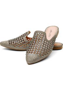 Sapatilha Mulle Bico Fino Sb Shoes Ref.10106L Dourado - Dourado - Feminino - Glitter - Dafiti