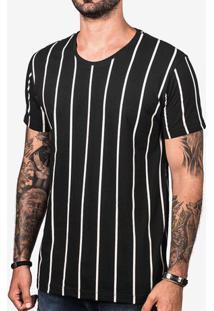 Camiseta Preta Listra Vertical 103305