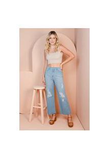 Calça Pantacourt Sisal Jeans Com Rasgos Azul