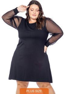 Vestido Liso Com Mangas Em Chiffon Preto